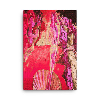 On Sale Botticelli The Birth of Venus Pink Red Ocher Print on Canvas by Neoclassical Pop Art