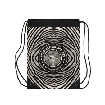 On Sale Leonardo da Vinci Vitruvian Man Zebra Drawstring bag by Neoclassical Pop Art