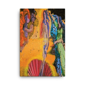On Sale  Botticelli The Birth of Venus Green Orange Pink Blue Print on Canvas by  Neoclassical Pop Art