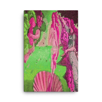 On Sale  Botticelli The Birth of Venus Green Pink Red Print on Canvas by  Neoclassical Pop Art