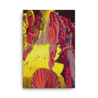 On Sale Botticelli The Birth of Venus Bright Yellow & Red Print on Canvas by Neoclassical Pop Art