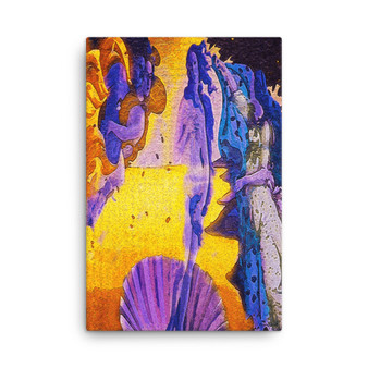 On Sale  Botticelli The Birth of Venus  Purple Yellow  Lilac Print on Canvas by  Neoclassical Pop Art