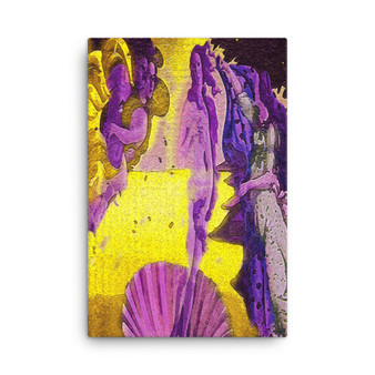 On Sale  Botticelli The Birth of Venus Yellow Purple Lilac Print on Canvas by  Neoclassical Pop Art