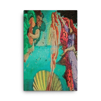 On Sale  Botticelli The Birth of Venus Green Purple Red Yellow Print on Canvas by Neoclassical Pop Art