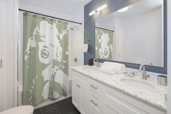On Sale Monroe Pop Portrait Sage White Shower Curtains by Neoclassical Pop Art