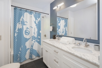 On Sale Marylin Monroe Pop Portrait Light Blue White Shower Curtains by Neoclassical Pop Art
