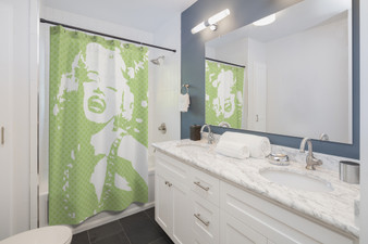 On Sale Monroe  Pop Portrait Lime Green White Shower Curtains by Neoclassical pop art
