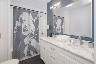 On Sale Marylin Monroe Grey and White Shower Curtains by Neoclassical Pop Art
