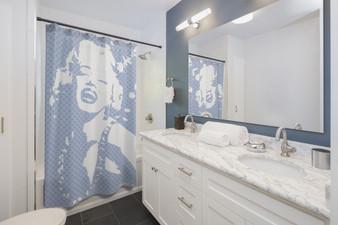 Monroe | Pop Portrait Pastel  Blue White Shower Curtains