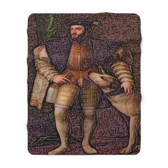 On Sale Titian King  Charles V Dog Sherpa Fleece Blanket by Neoclassical Pop Art