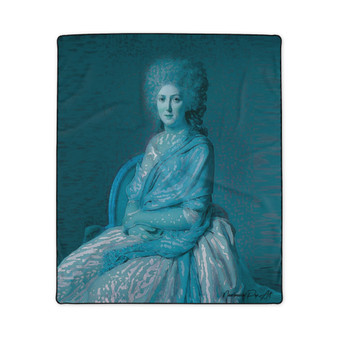 On Sale David Countess of Sorcy Blue Neoclassical Fleece Blanket by Neoclassical Pop Art