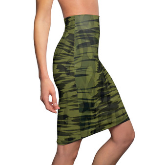 On Sale Abstract Army Green Women's Pencil Skirt by Neoclassical Pop Art