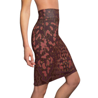 On Sale Brown Abstract  Art Women's Pencil Skirt  by Neoclassical Pop Art