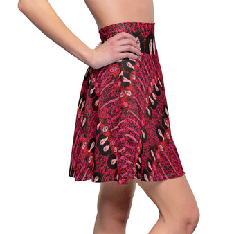 On Sale Klimt Boho Chic Red Women's Skater Skirt by Neoclassical Pop Art