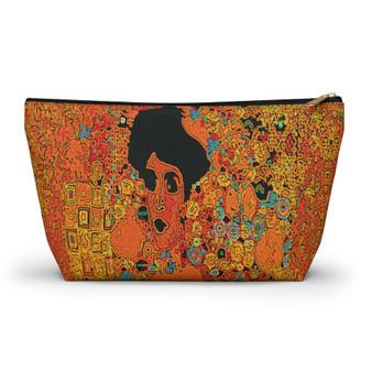 On Sale Klimt Lady in Gold Orange Accessory Pouch by Neoclassical Pop Art