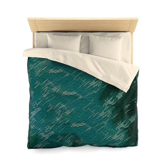 Blue Green Abstract Microfiber Duvet Cover by Neoclassical Pop Art online designer store