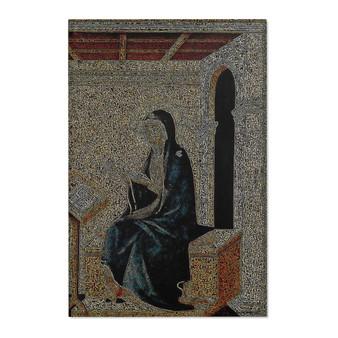 On Sale Duccio Annunciation Blue Beige Orange Area Rugs by Neoclassical Pop Art