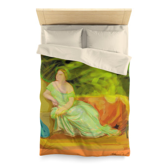 Gray |  Lady with a Violin Microfiber Duvet Cover