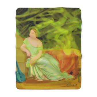 On Sale Lady & The Mandolin Sherpa Fleece Blanket by  Neoclassical Pop Art