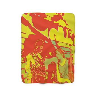 On Sale Gray the Greek Lovers Yellow Orange Sherpa Fleece Blanket by Neoclassical Pop Art