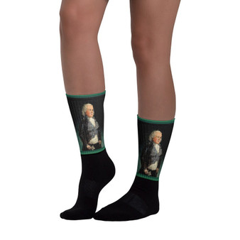 On sale Collectible Goya Don Perdro Black foot socks by Neoclassical Pop Art Online designer brand store