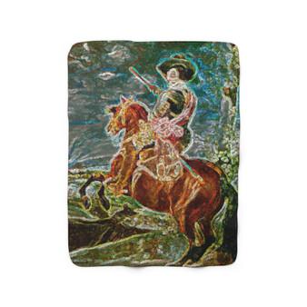 On Sale  Velázquez Count-Duke Horse Sherpa Fleece Blanket  by Neoclassical Pop Art