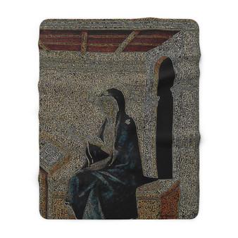 On Sale Duccio Annunciation Sherpa Fleece Blanket by Neoclassical Pop Art