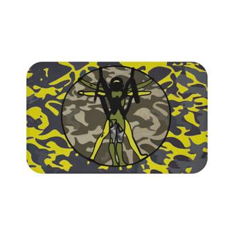 On Sale Da Vinci Yellow Gray Olive Green Vitruvian Space Man Bath Mat by Neoclassical Pop Art