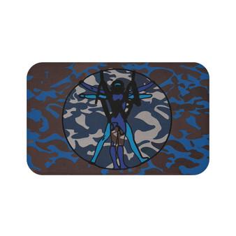 On Sale Da Vinci Brown Blue White Vitruvian Space Man Bath Mat by Neoclassical Pop Art