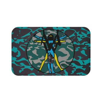 On Sale Da Vinci Vitrucvian Space Man  Turquoise Blue Yellow Gray Bath Mat by Neoclassical Pop Art