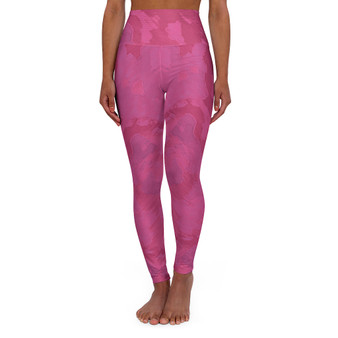 On Sale  Hot Pink High Abstract Art Waisted Yoga Leggings by Neoclassical Pop Art