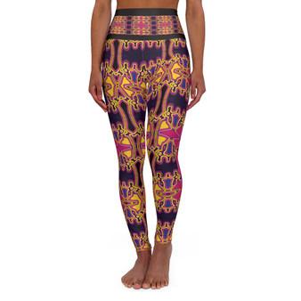 On Sale Da Vinci Pink Yellow Cross High Waisted Yoga Leggings by Neoclassical Pop Art