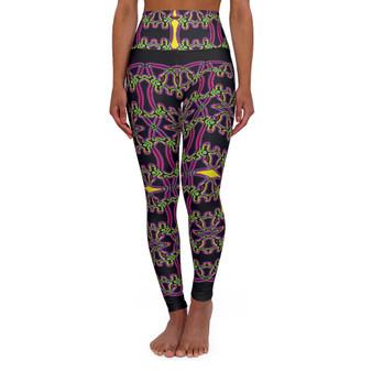 On Sale Da vinci  Alexander the Great Neon Cross High Waisted Yoga Leggings by Neoclassical Pop Art