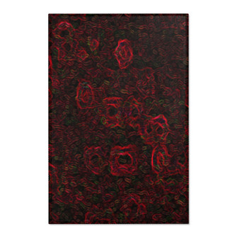 Shop For Abstract Red Black Abstract Roses Area Rugs by Neoclassical Pop Art