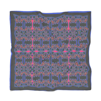 Da Vinci   Blue Pink Alexander the Great  Abstract Poly Scarf
