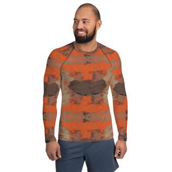 On Sale Abstract Orange Brown Men's Rash Guard by Neoclassical Pop Art