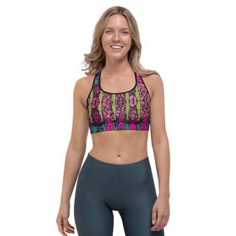On sale Gustav klimt purple green sports bra by neoclassical pop art online designer brand store shop near by