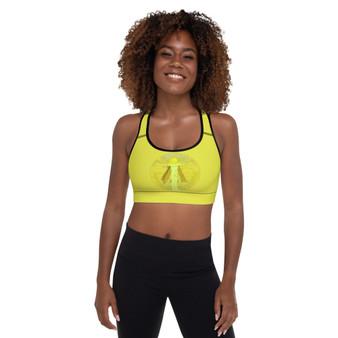 On sale da vinci vitruvian man eye of providence pyramid yellow  sports bra by neoclassical pop art online designer brand store shop near by