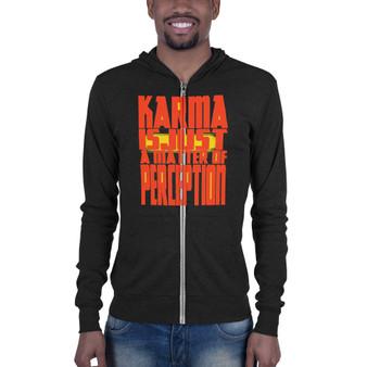 On Sale Da Vinci  Good Karma Perception orange black Unisex zip hoodie by Neoclassical Pop Art