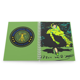 On Sale green yellow  Manet Lola de Valence lined Spiral Notebook by Neoclassical Pop Art