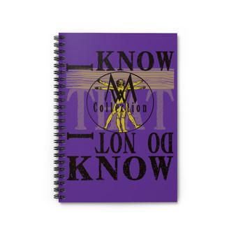 On Sale Leonardo Da Vinci  purple yellow Vintruvian man Spiral Notebook Ruled Line by Neoclassical Pop Art