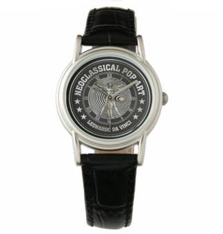 Da Vinci    Men's Vintage Black Leather Strap Watch