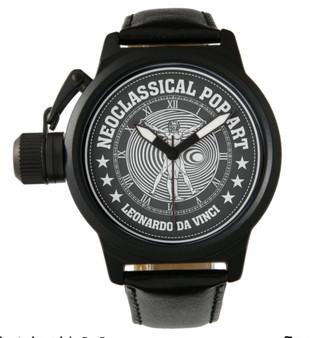 Da Vinci    Men's Crown Protector Black Leather Strap Watch