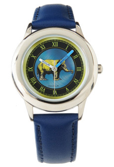 Rembrandt Kid's Stainless Steel Blue Leather Strap Watch by Neoclassical Pop Art