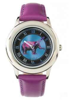 Rembrandt Pink Elephant Kid's Stainless Steel Purple Leather Strap Watch by Neoclassical Pop Art