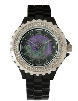 Rubens |  Women's Rhinestone Black Enamel Watch