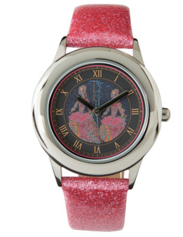 Rembrandt  Elephant Kid's Pink Glitter Strap Watch by Neoclassical Pop Art