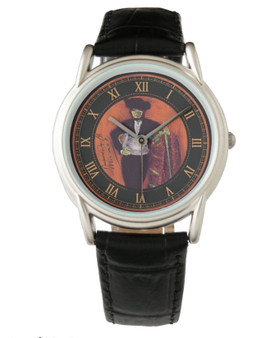Manet Men's Classic Black Leather Strap Watch by Neoclassical Pop Art