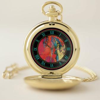 Botticelli Rising Venus Gold Venus Pocket Watch by Neoclassical Pop Art