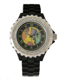 Botticelli Venus Women's Rhinestone Black Enamel Watch by Neoclassical Pop Art